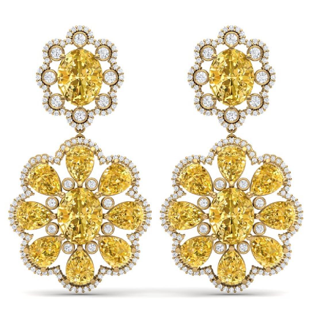 29.9 CTW Royalty Canary Citrine & VS Diamond Earrings