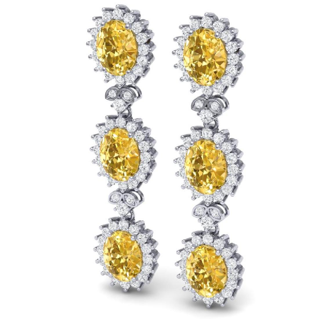 19.06 CTW Royalty Canary Citrine & VS Diamond Earrings - 2