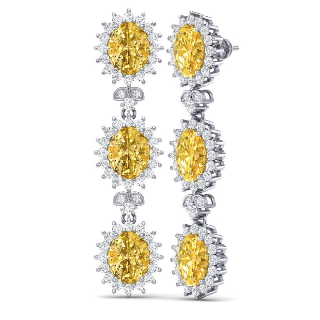 19.06 CTW Royalty Canary Citrine & VS Diamond Earrings - 3