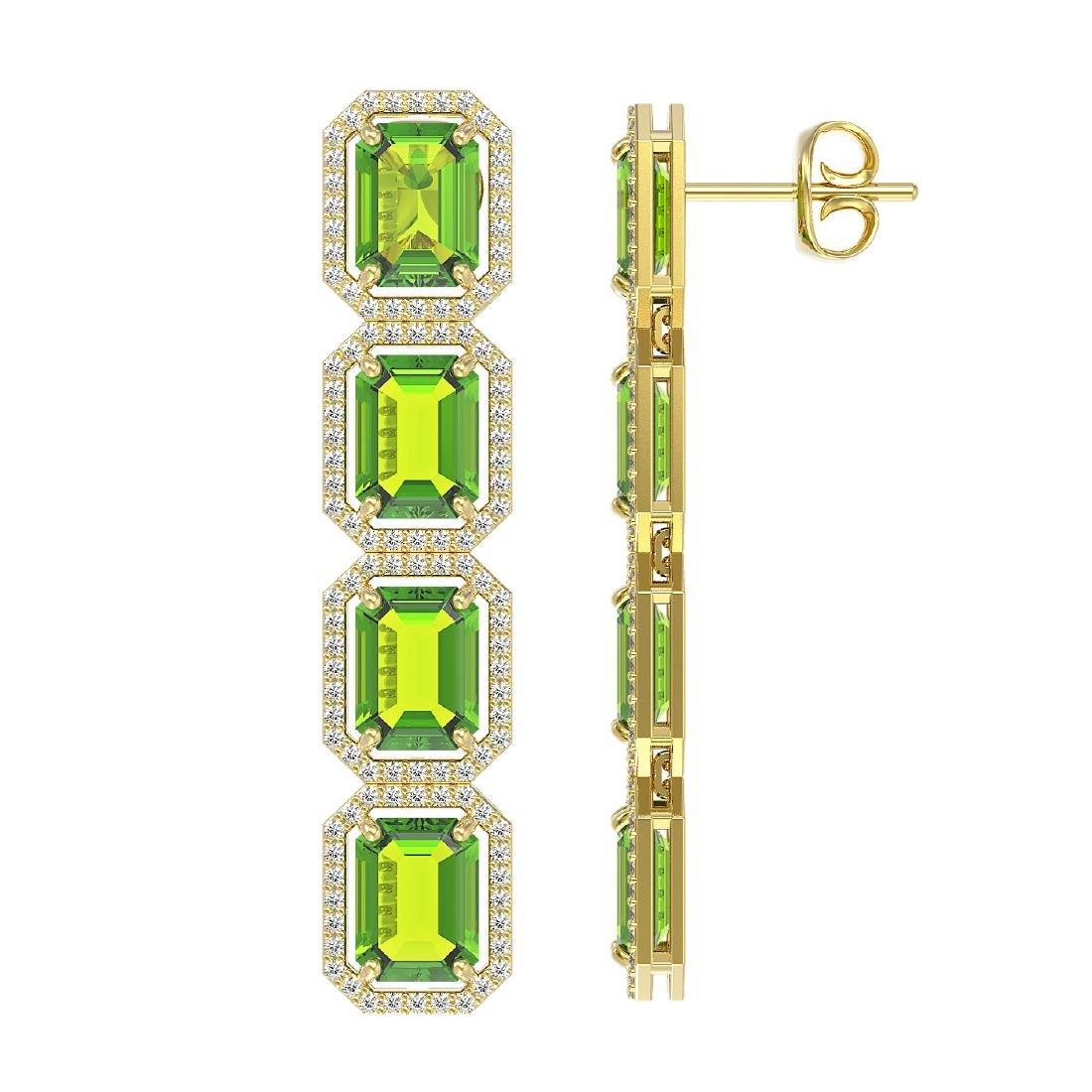 17.81 CTW Peridot & Diamond Halo Earrings 10K Yellow - 2