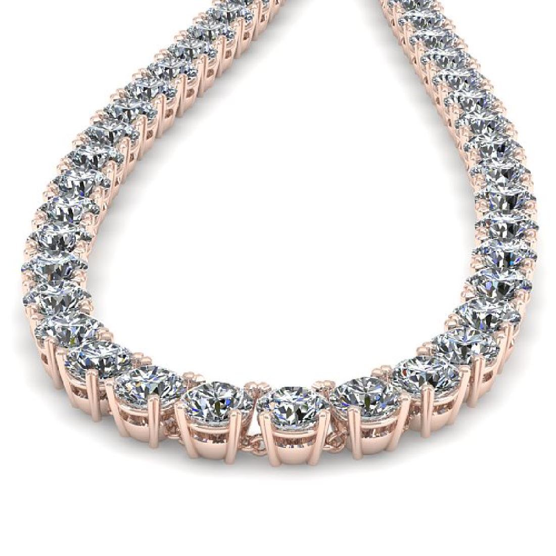 34 CTW Certified SI Diamond Necklace 14K Rose Gold - 2