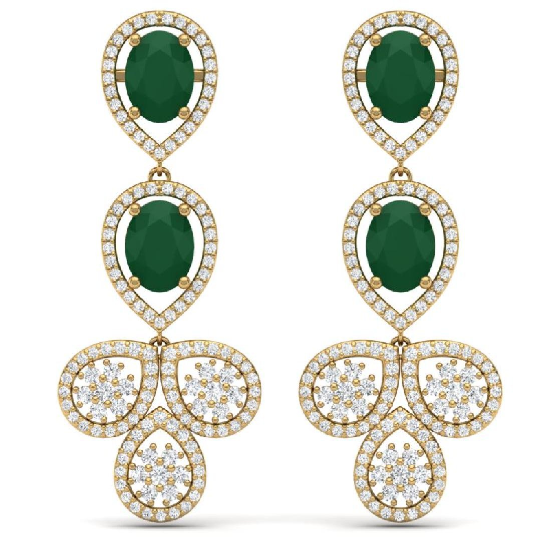 9.75 CTW Royalty Emerald & VS Diamond Earrings 18K