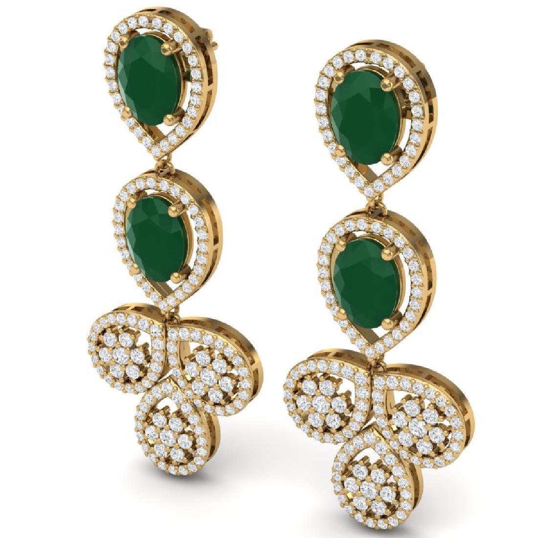 9.75 CTW Royalty Emerald & VS Diamond Earrings 18K - 2