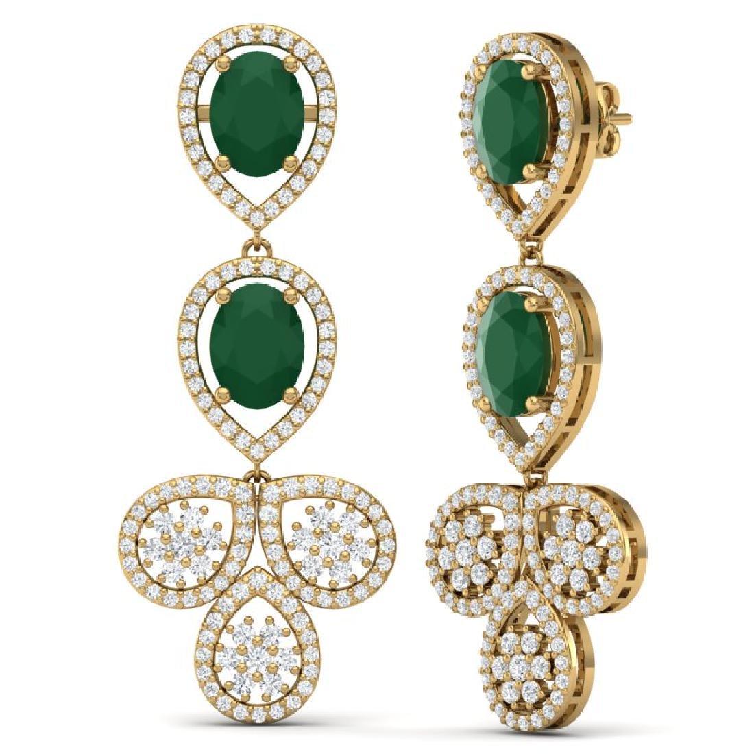 9.75 CTW Royalty Emerald & VS Diamond Earrings 18K - 3