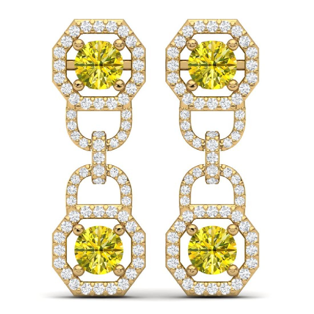4 CTW SI/I Fancy Yellow And White Diamond Earrings 18K - 3