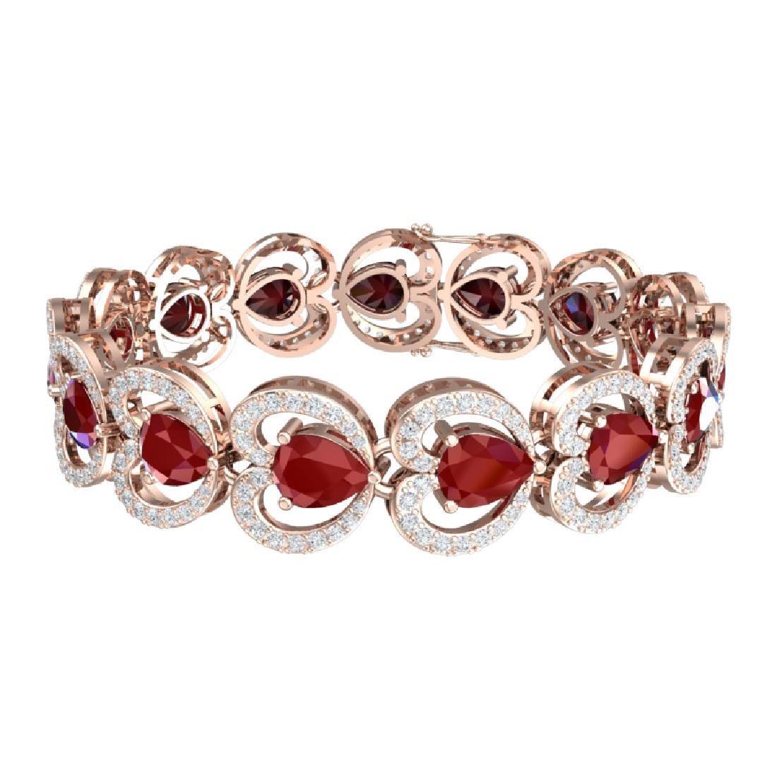 32.15 CTW Royalty Ruby & VS Diamond Bracelet 18K Rose - 3