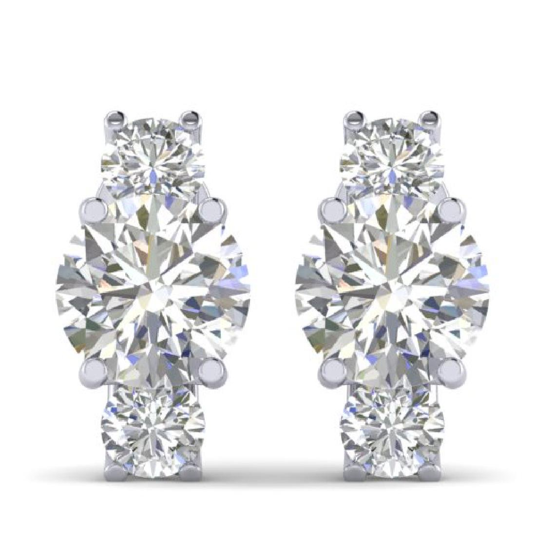 2.9 CTW Certified VS/SI Diamond 3 Stone Stud Earrings