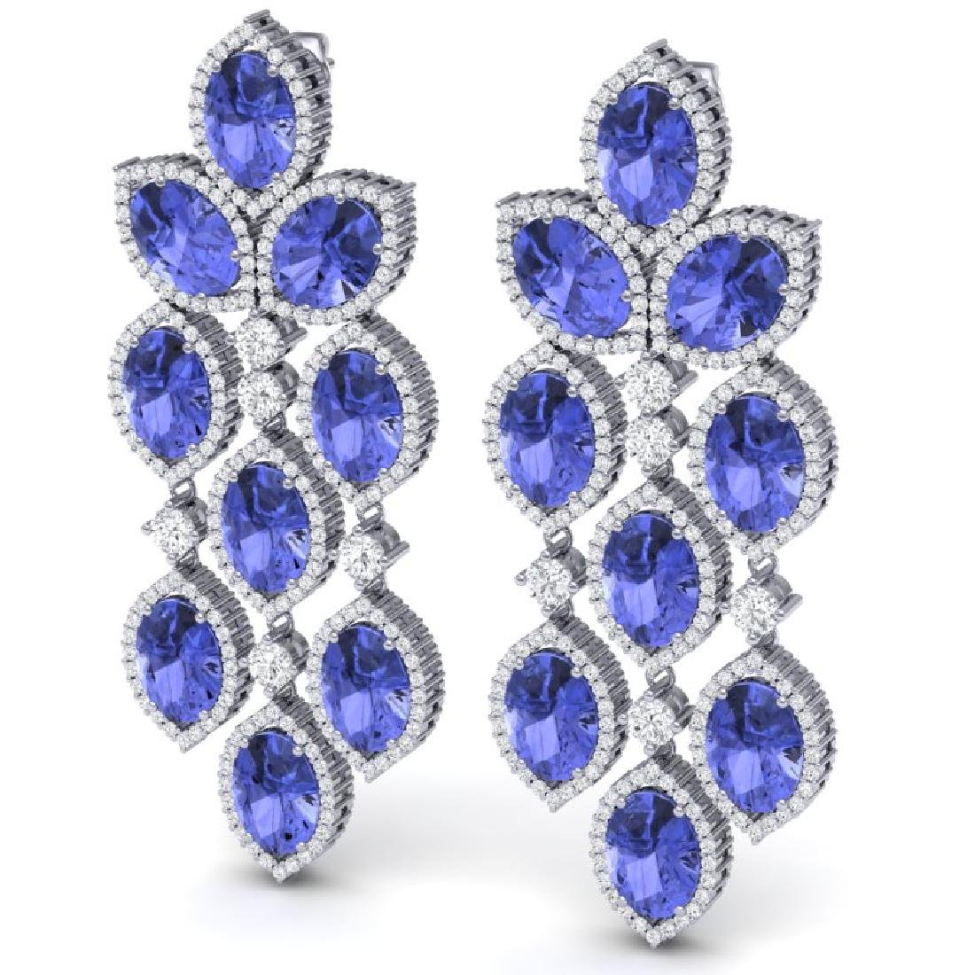 20.53 CTW Royalty Tanzanite & VS Diamond Earrings 18K - 2
