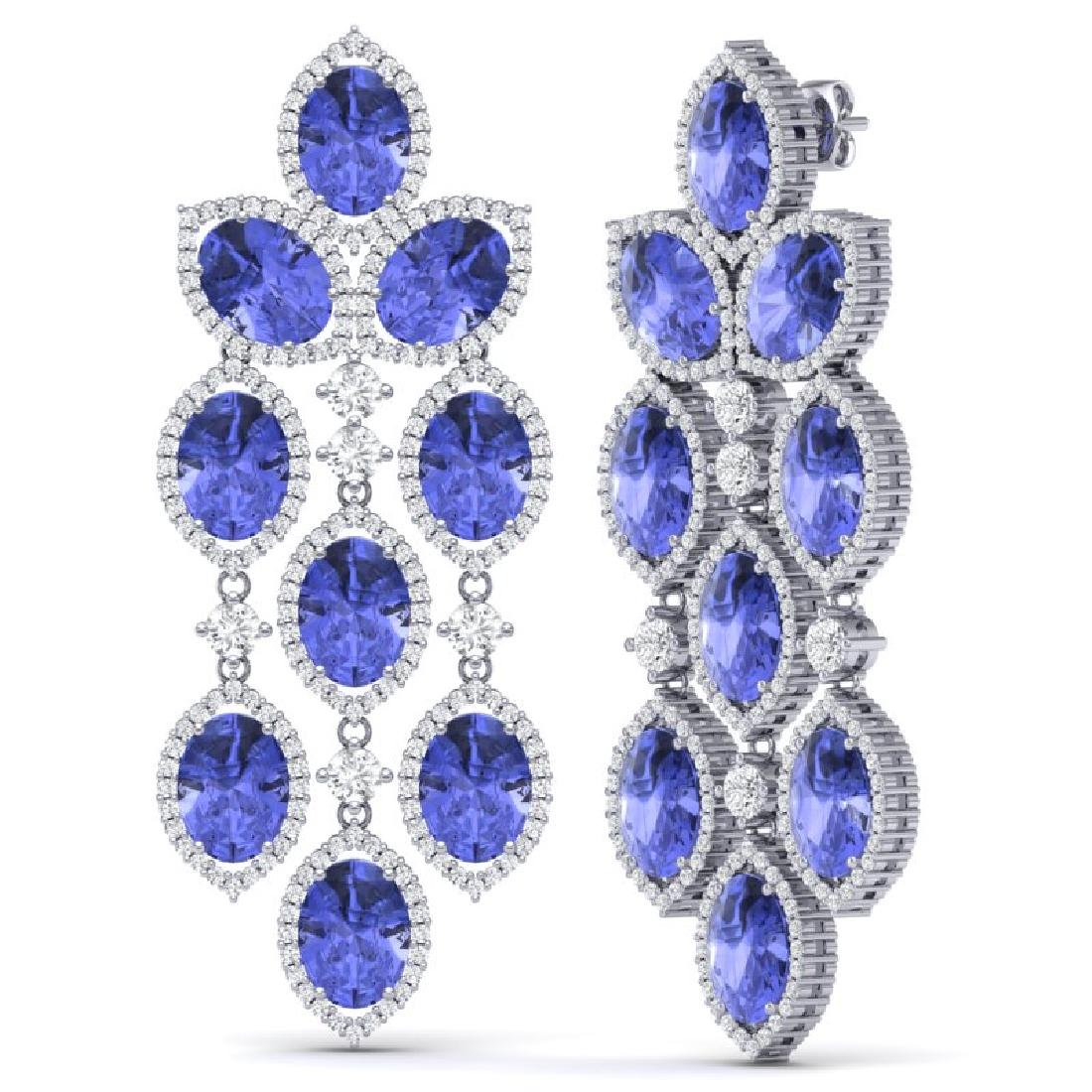 20.53 CTW Royalty Tanzanite & VS Diamond Earrings 18K - 3