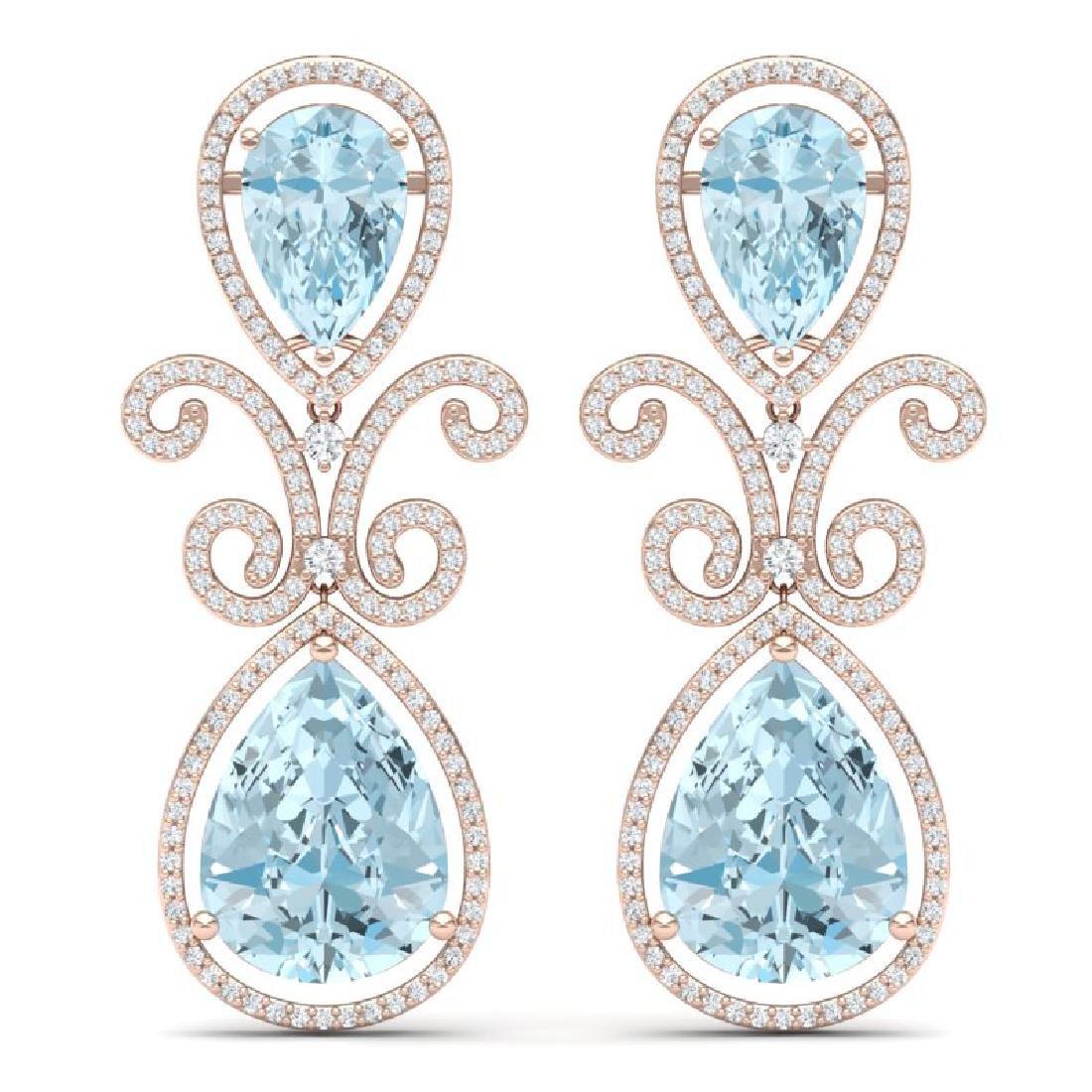 30.49 CTW Royalty Sky Topaz & VS Diamond Earrings 18K