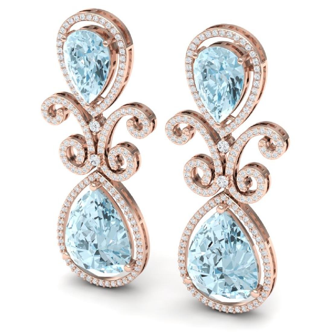 30.49 CTW Royalty Sky Topaz & VS Diamond Earrings 18K - 2