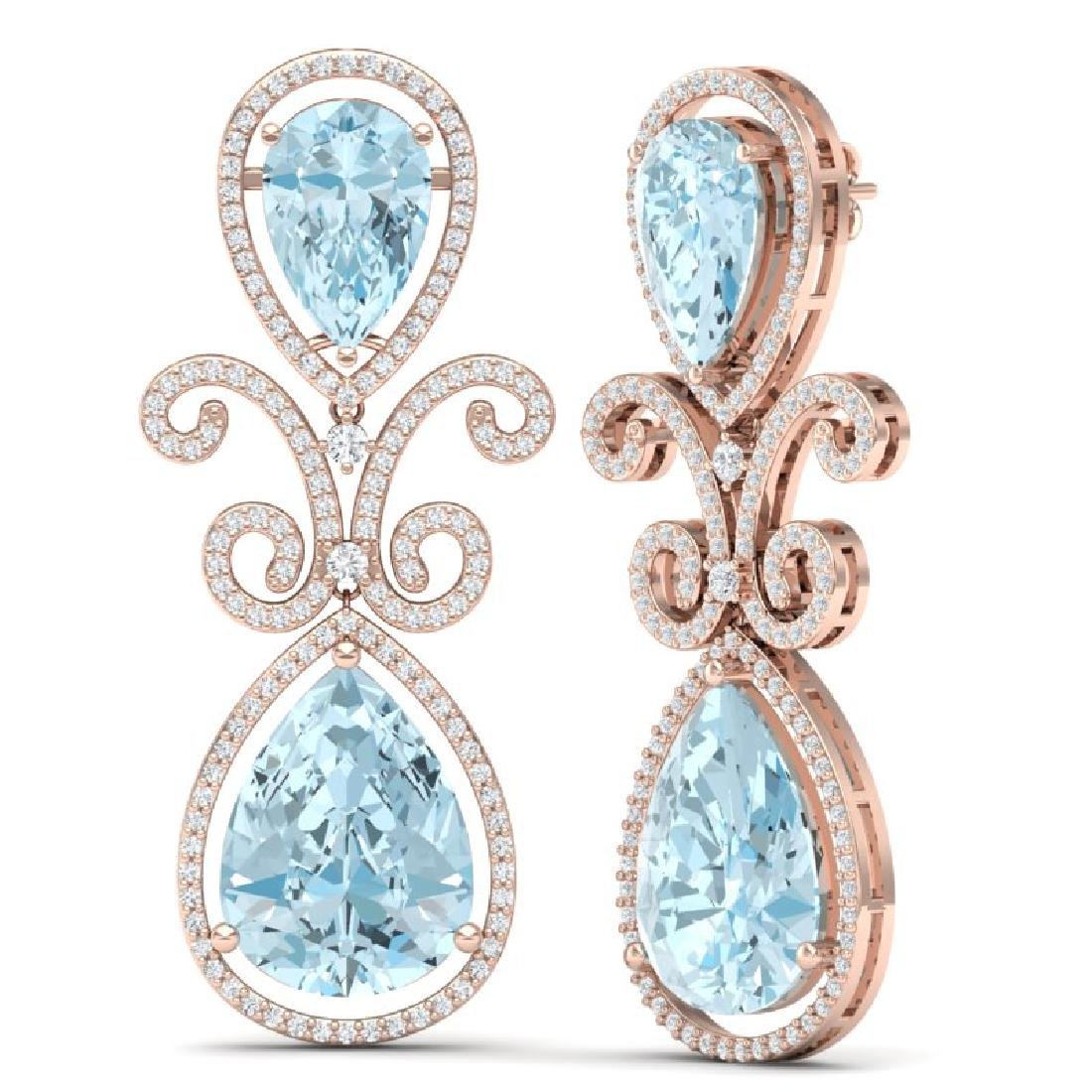 30.49 CTW Royalty Sky Topaz & VS Diamond Earrings 18K - 3