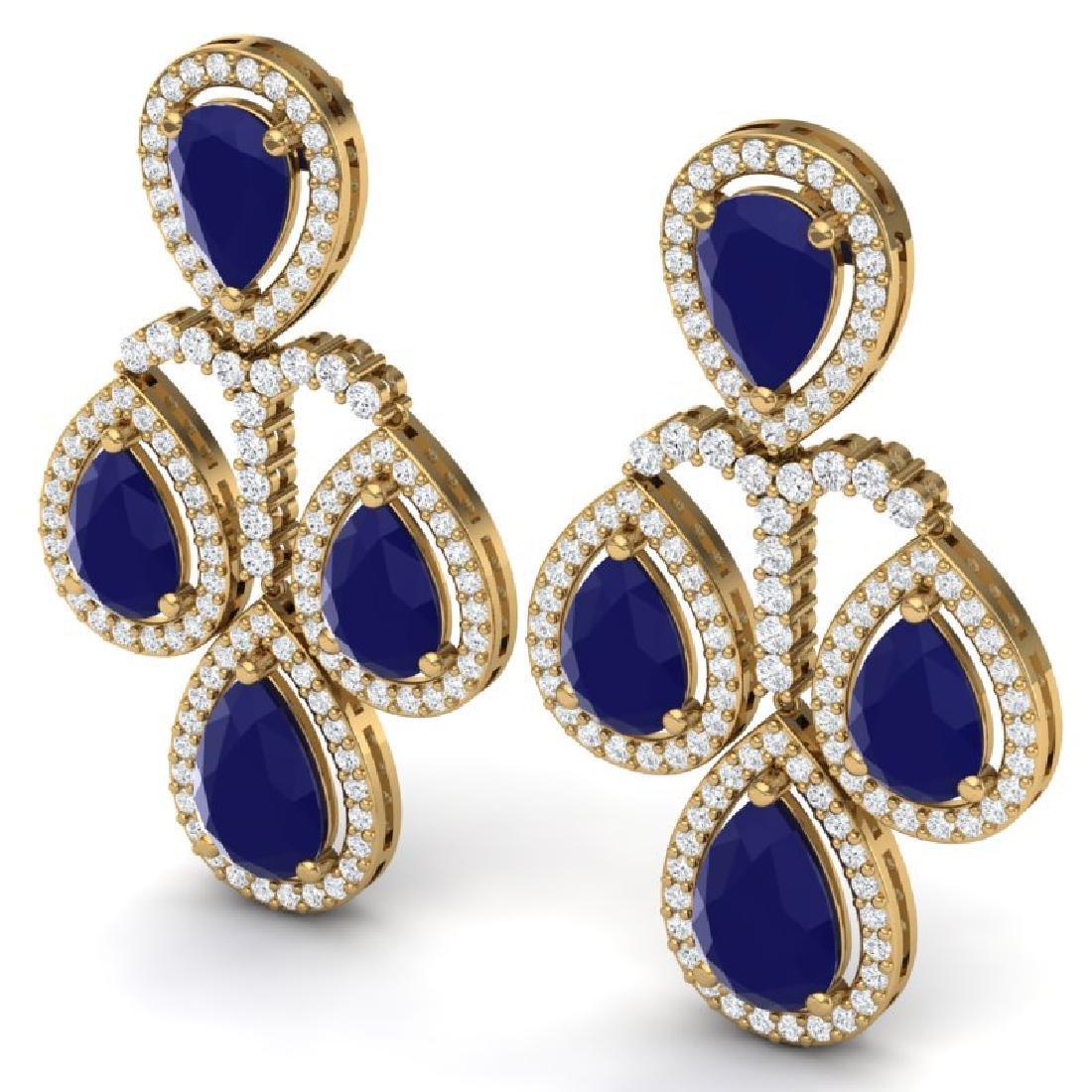 29.23 CTW Royalty Sapphire & VS Diamond Earrings 18K - 2
