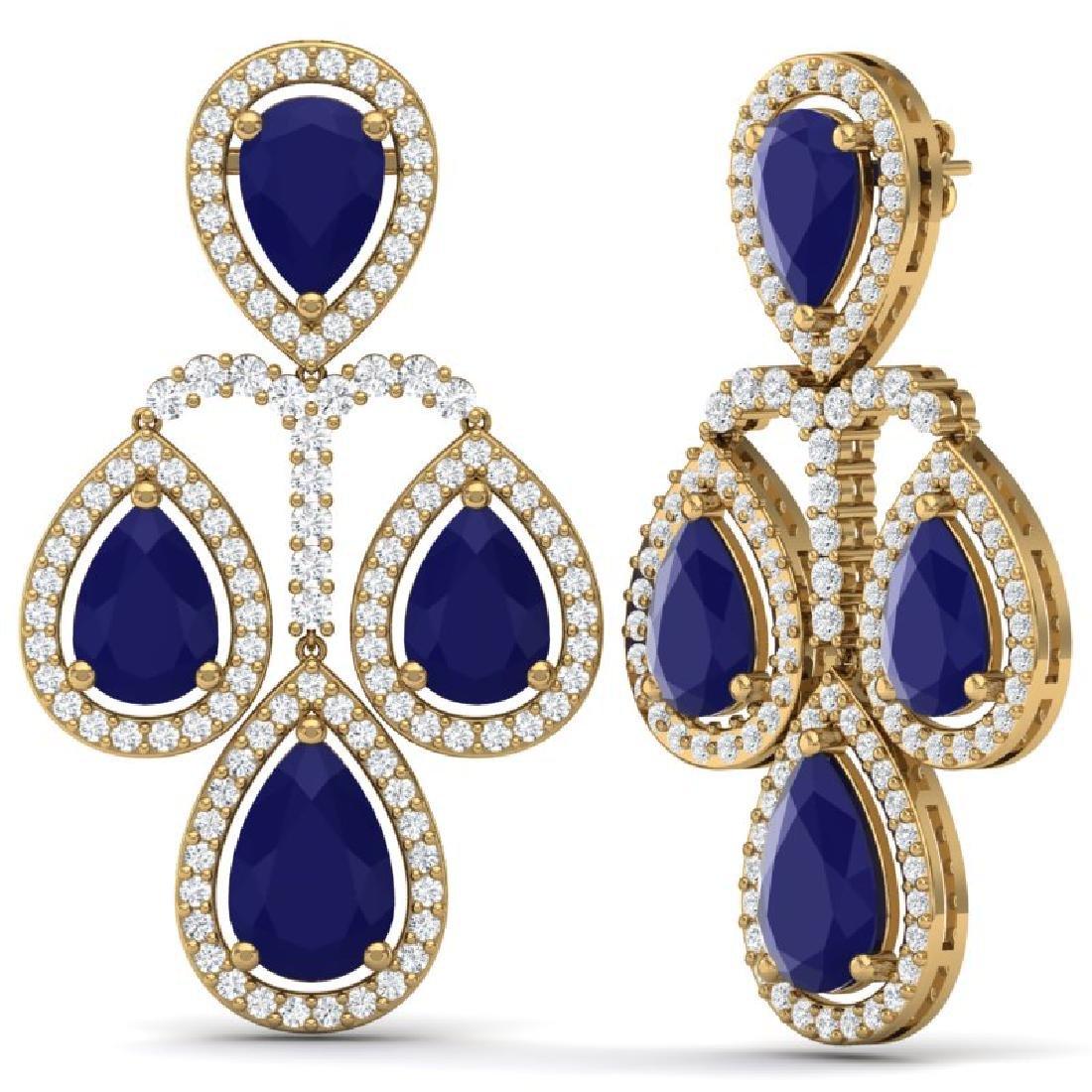 29.23 CTW Royalty Sapphire & VS Diamond Earrings 18K - 3