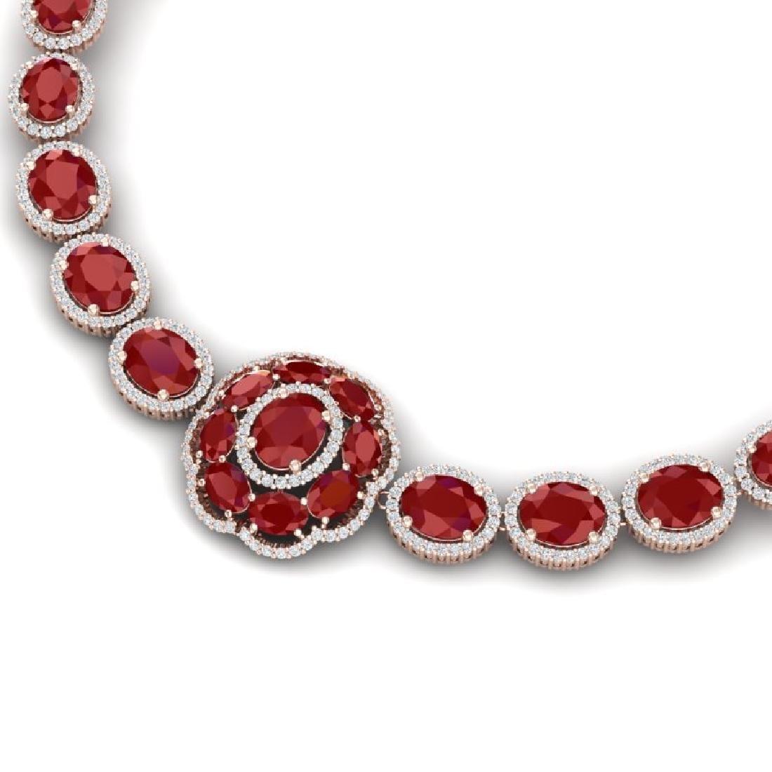 58.33 CTW Royalty Ruby & VS Diamond Necklace 18K Rose