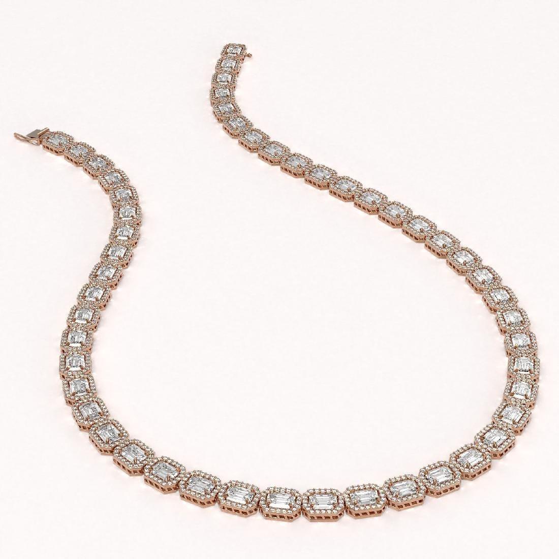 38.05 CTW Emerald Cut Diamond Designer Necklace 18K - 2