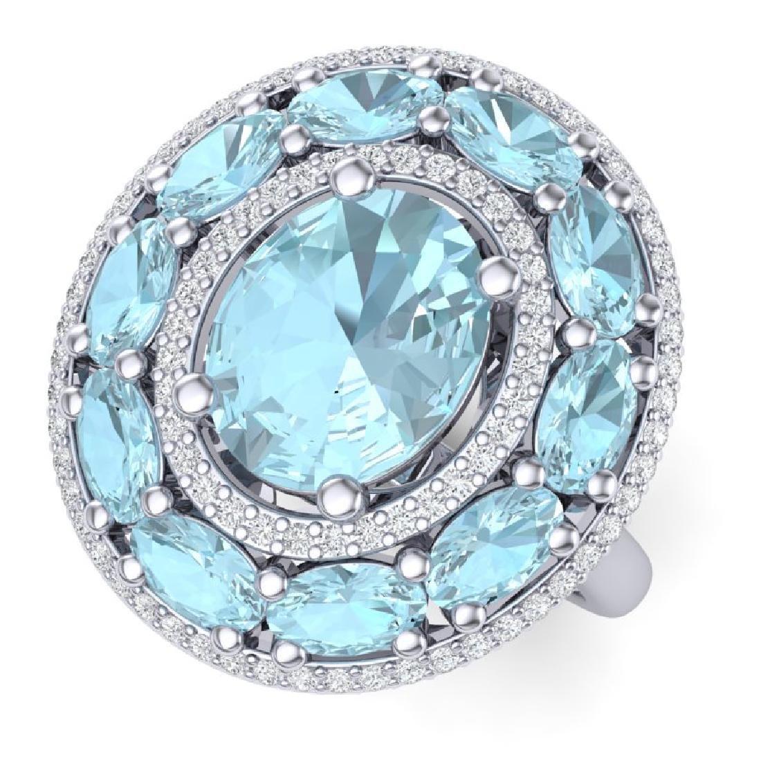 8.47 CTW Royalty Sky Topaz & VS Diamond Ring 18K White