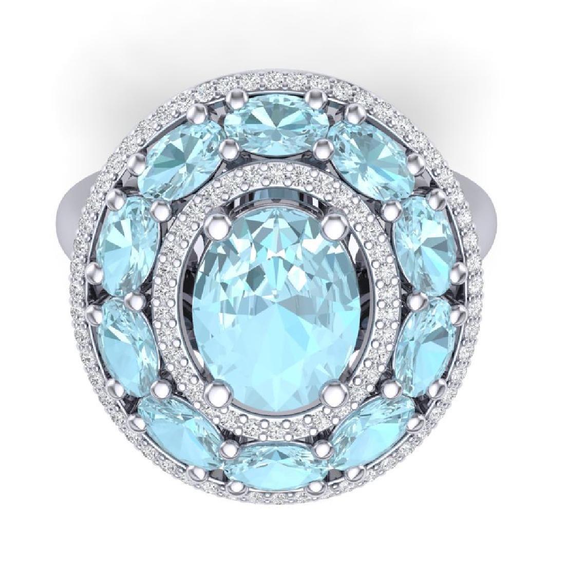 8.47 CTW Royalty Sky Topaz & VS Diamond Ring 18K White - 2