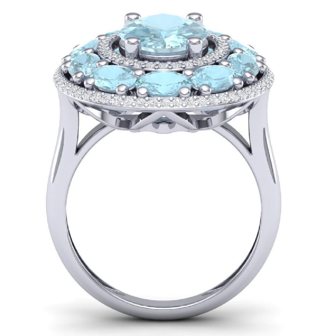 8.47 CTW Royalty Sky Topaz & VS Diamond Ring 18K White - 3