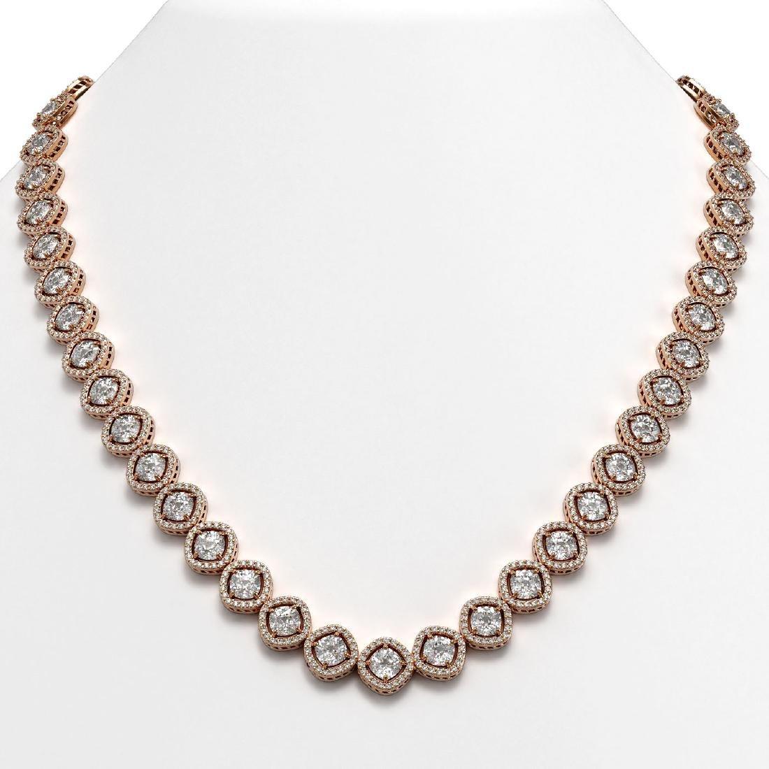 36.09 CTW Cushion Cut Diamond Designer Necklace 18K