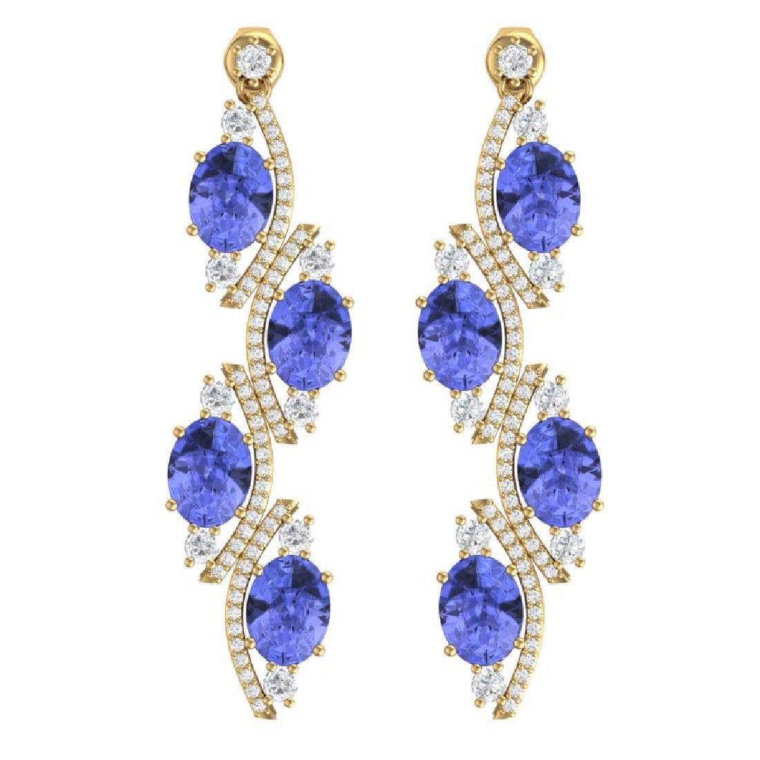 16.23 CTW Royalty Tanzanite & VS Diamond Earrings 18K
