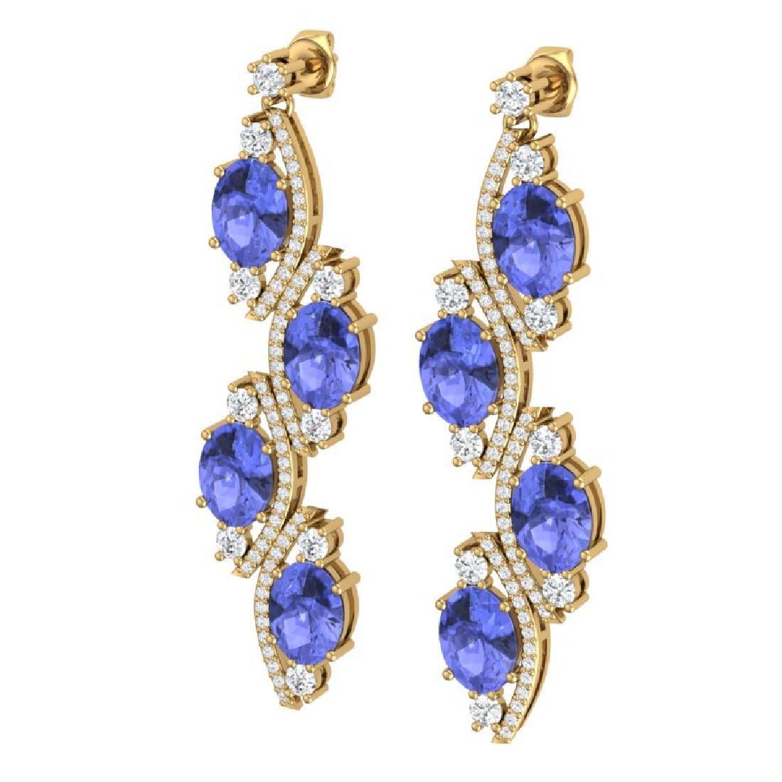 16.23 CTW Royalty Tanzanite & VS Diamond Earrings 18K - 2