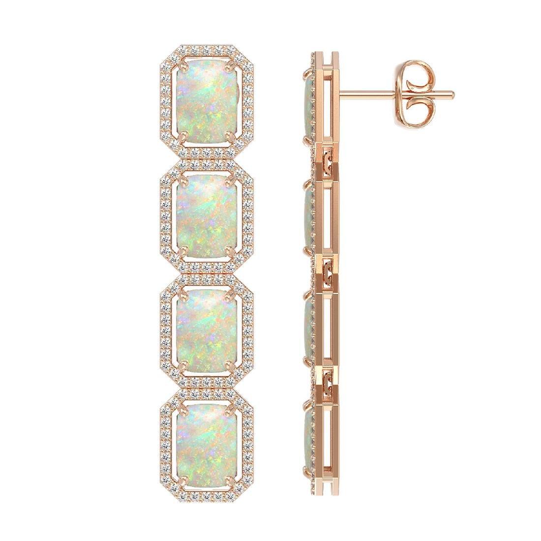 12.99 CTW Opal & Diamond Halo Earrings 10K Rose Gold - 2