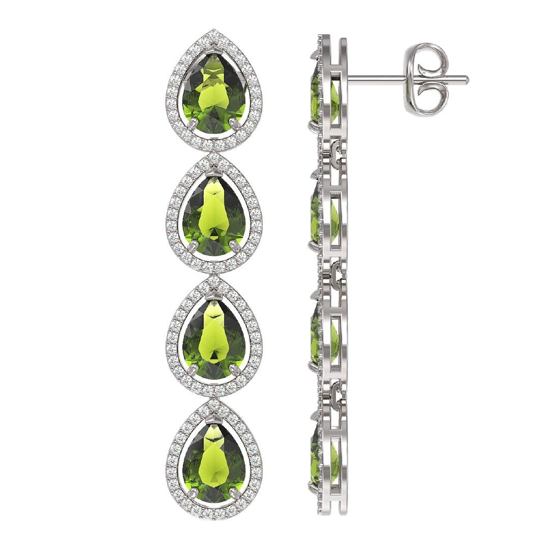 10.48 CTW Tourmaline & Diamond Halo Earrings 10K White - 2