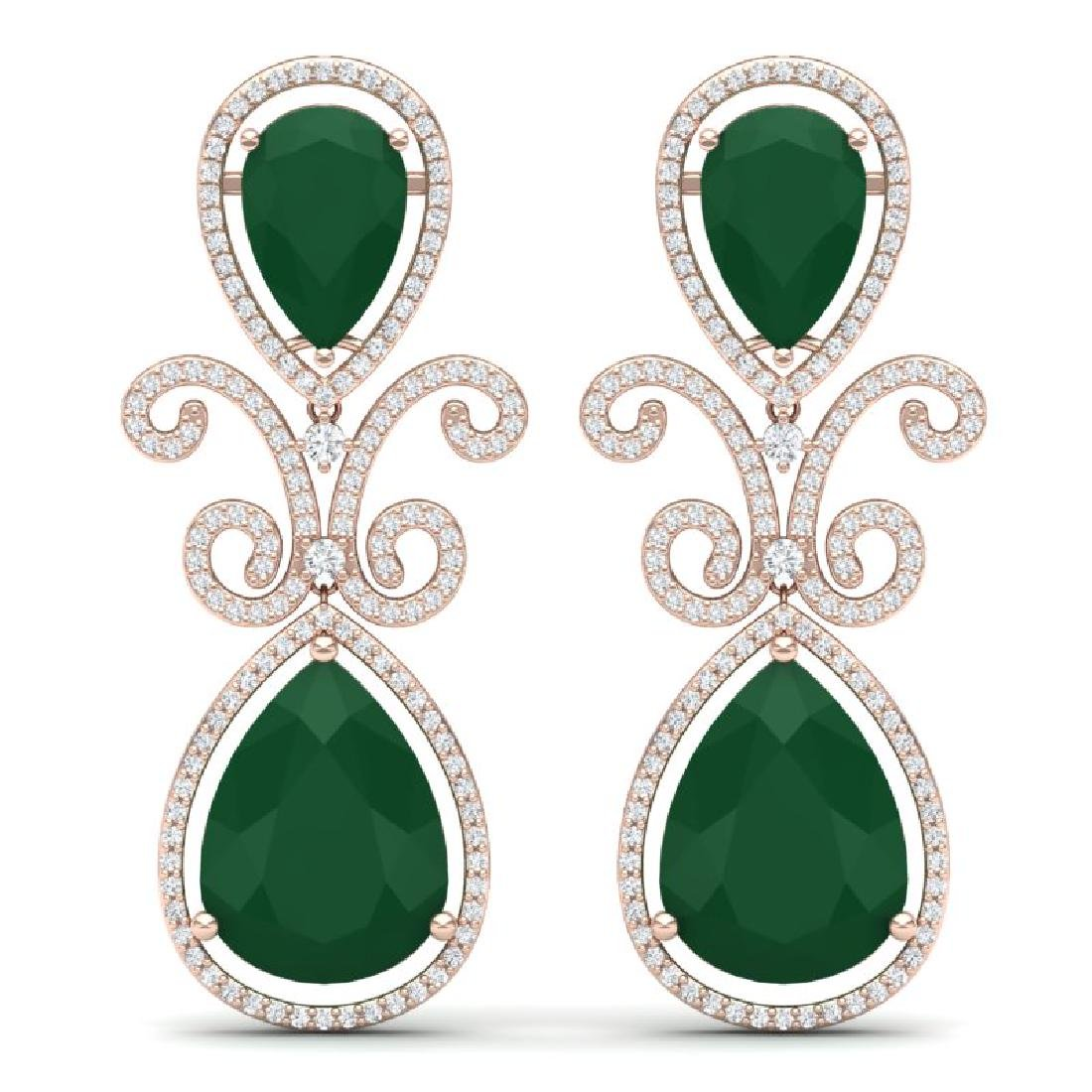31.6 CTW Royalty Emerald & VS Diamond Earrings 18K Rose