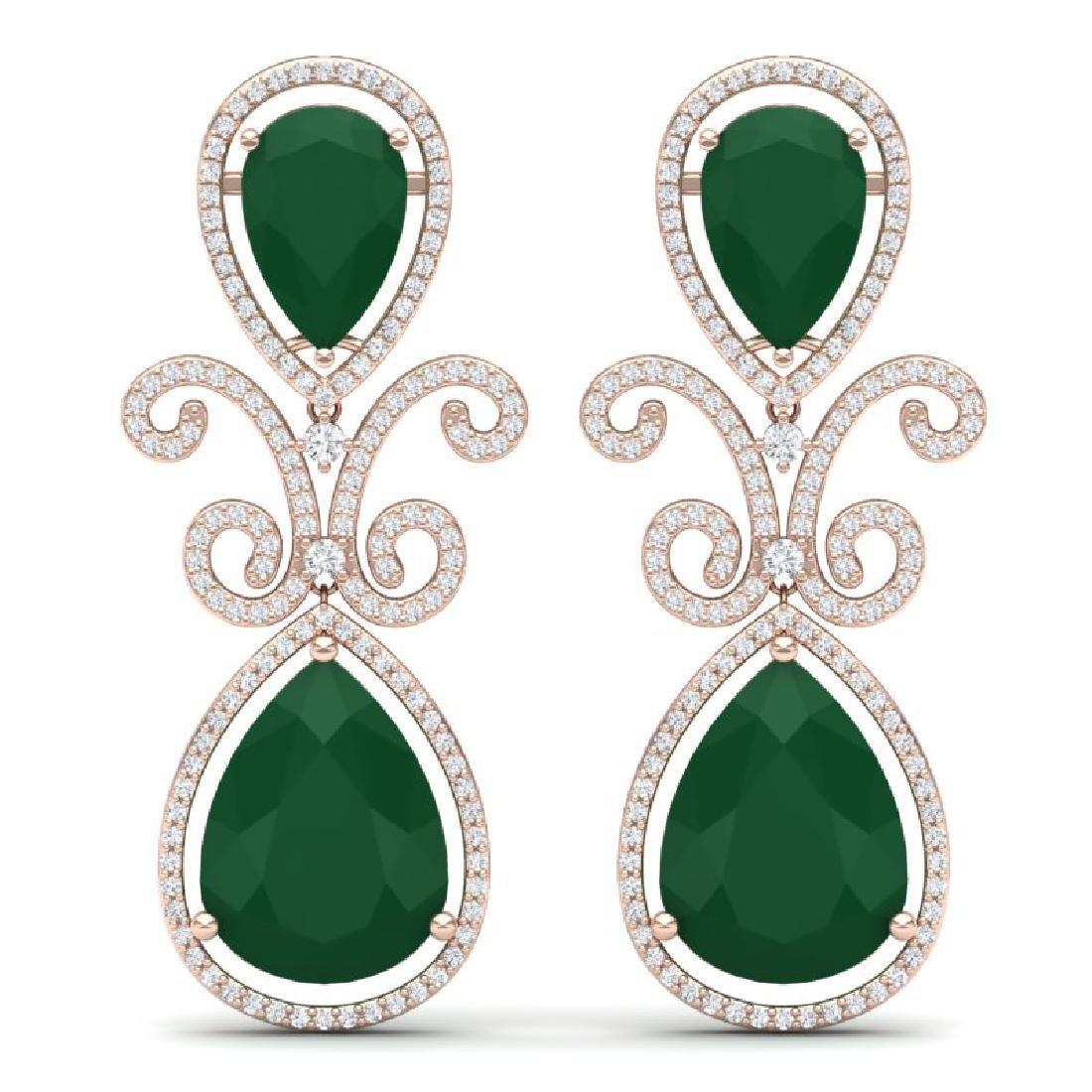 31.6 CTW Royalty Emerald & VS Diamond Earrings 18K Rose