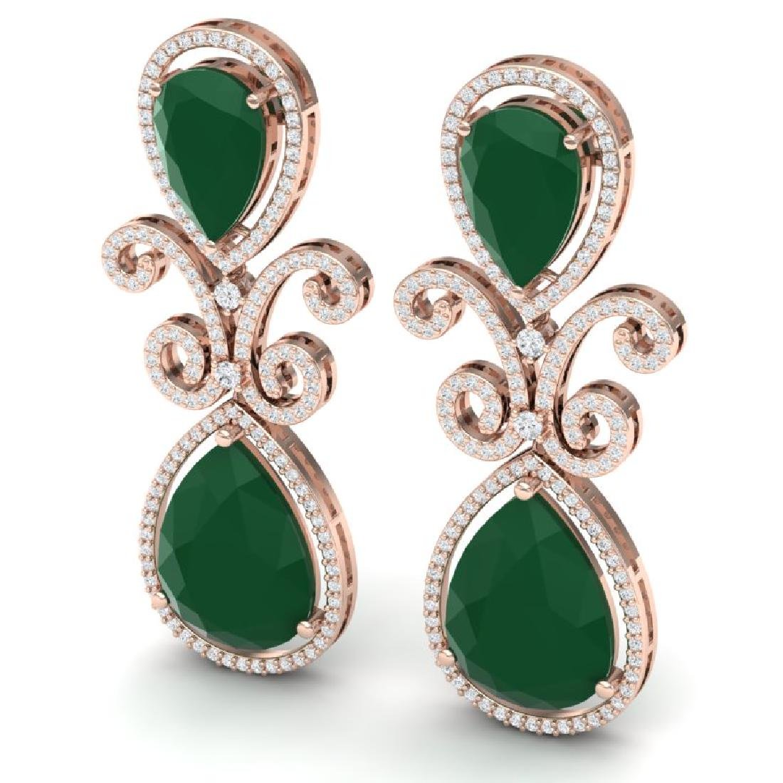 31.6 CTW Royalty Emerald & VS Diamond Earrings 18K Rose - 2