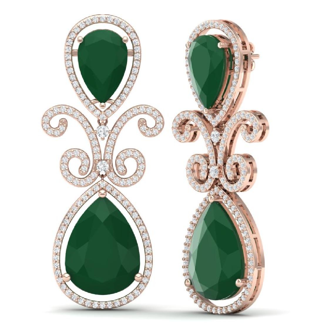 31.6 CTW Royalty Emerald & VS Diamond Earrings 18K Rose - 3