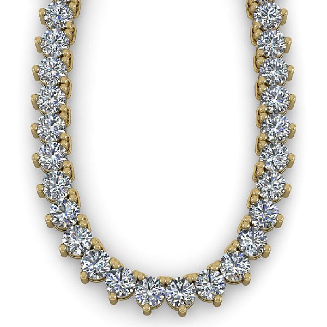 25 CTW Solitaire VS/SI Diamond Necklace 18K Yellow Gold - 2