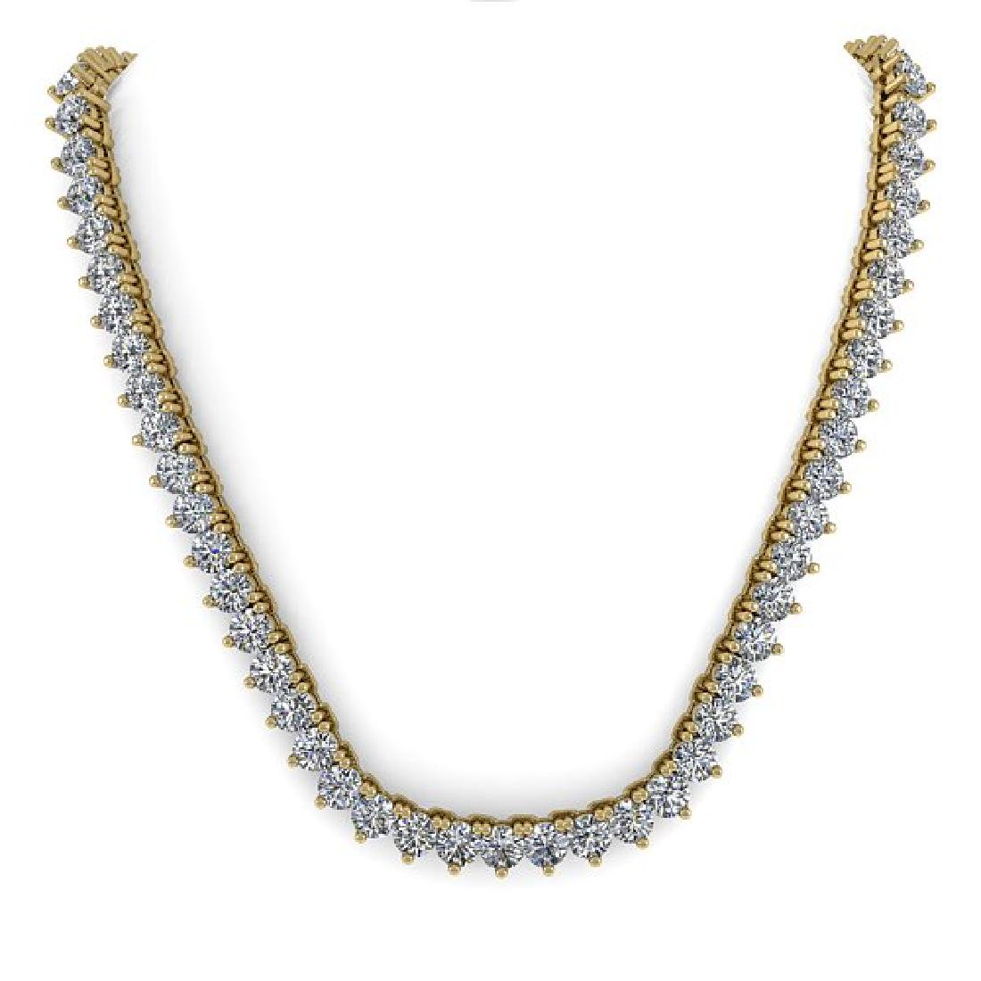 25 CTW Solitaire VS/SI Diamond Necklace 18K Yellow Gold - 3