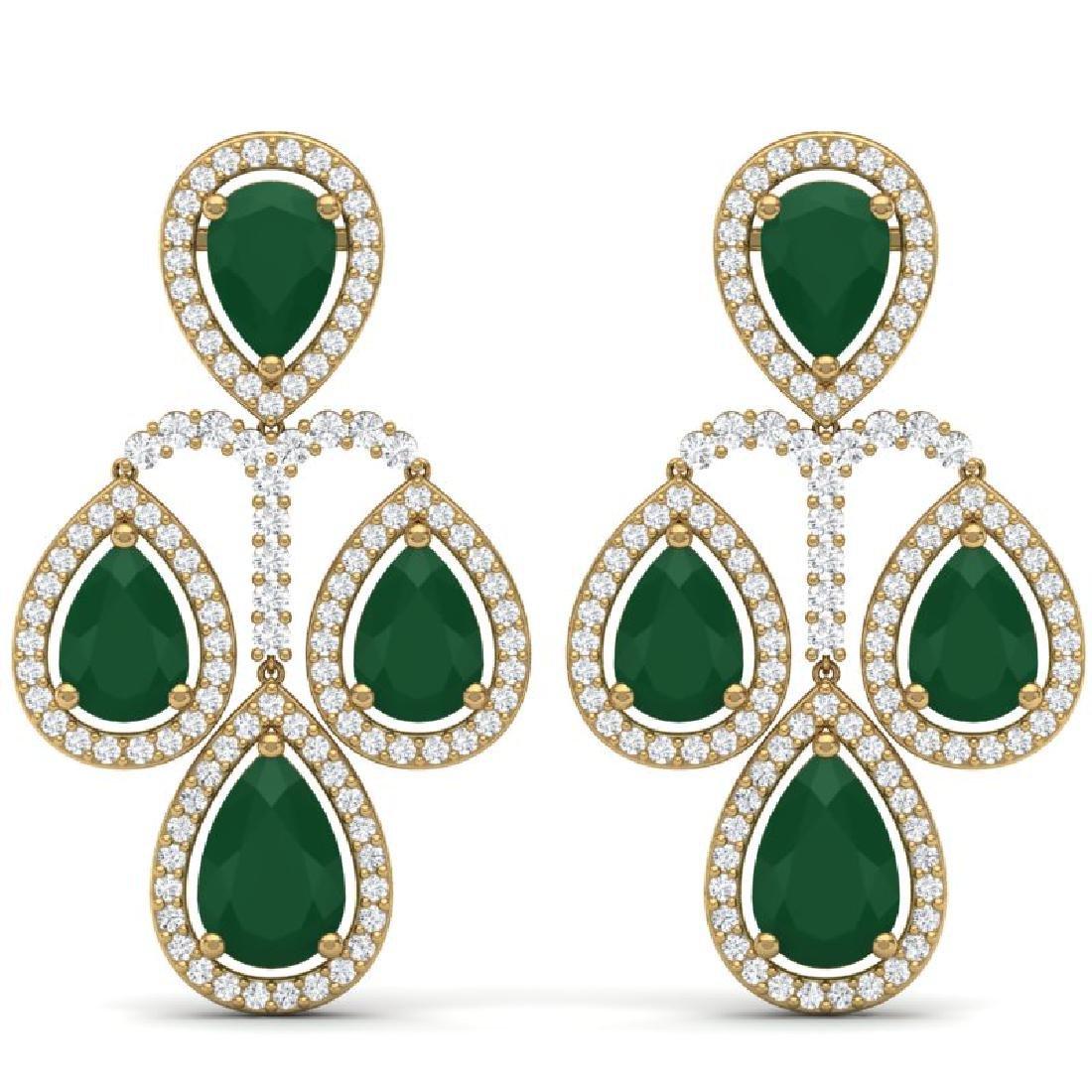 29.23 CTW Royalty Emerald & VS Diamond Earrings 18K