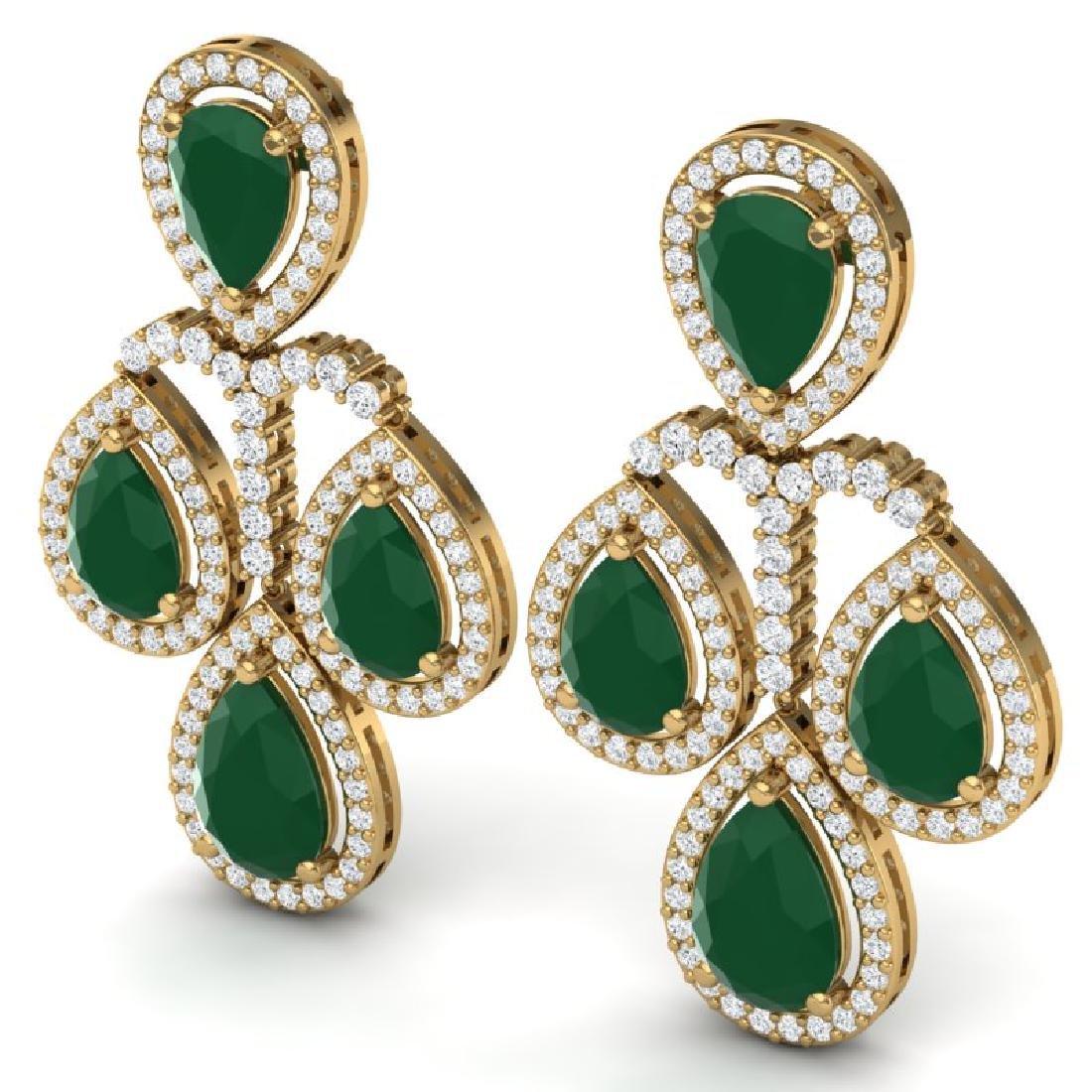 29.23 CTW Royalty Emerald & VS Diamond Earrings 18K - 2
