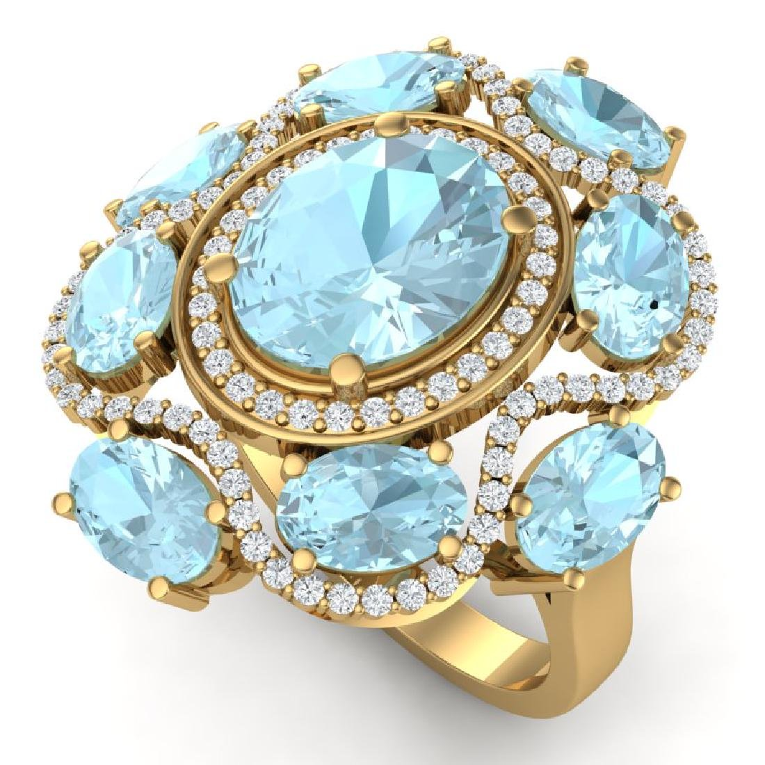 9.26 CTW Royalty Sky Topaz & VS Diamond Ring 18K Yellow