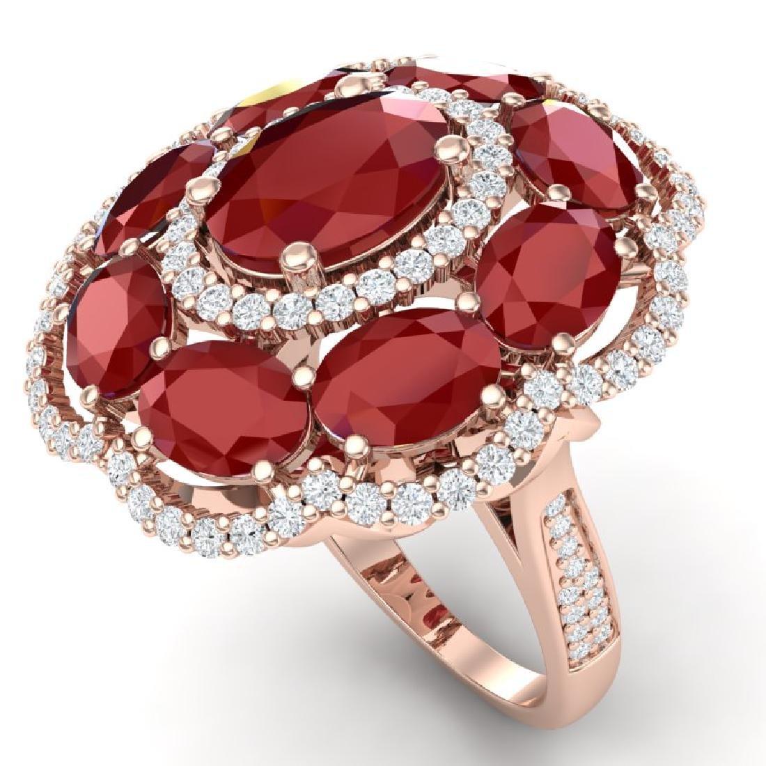 14.4 CTW Royalty Designer Ruby & VS Diamond Ring 18K