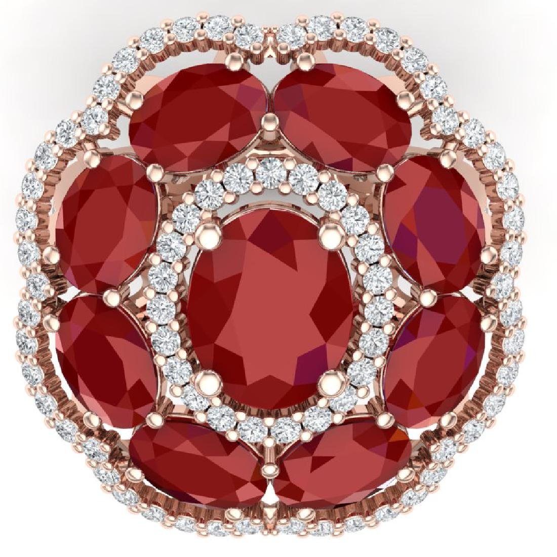 14.4 CTW Royalty Designer Ruby & VS Diamond Ring 18K - 2