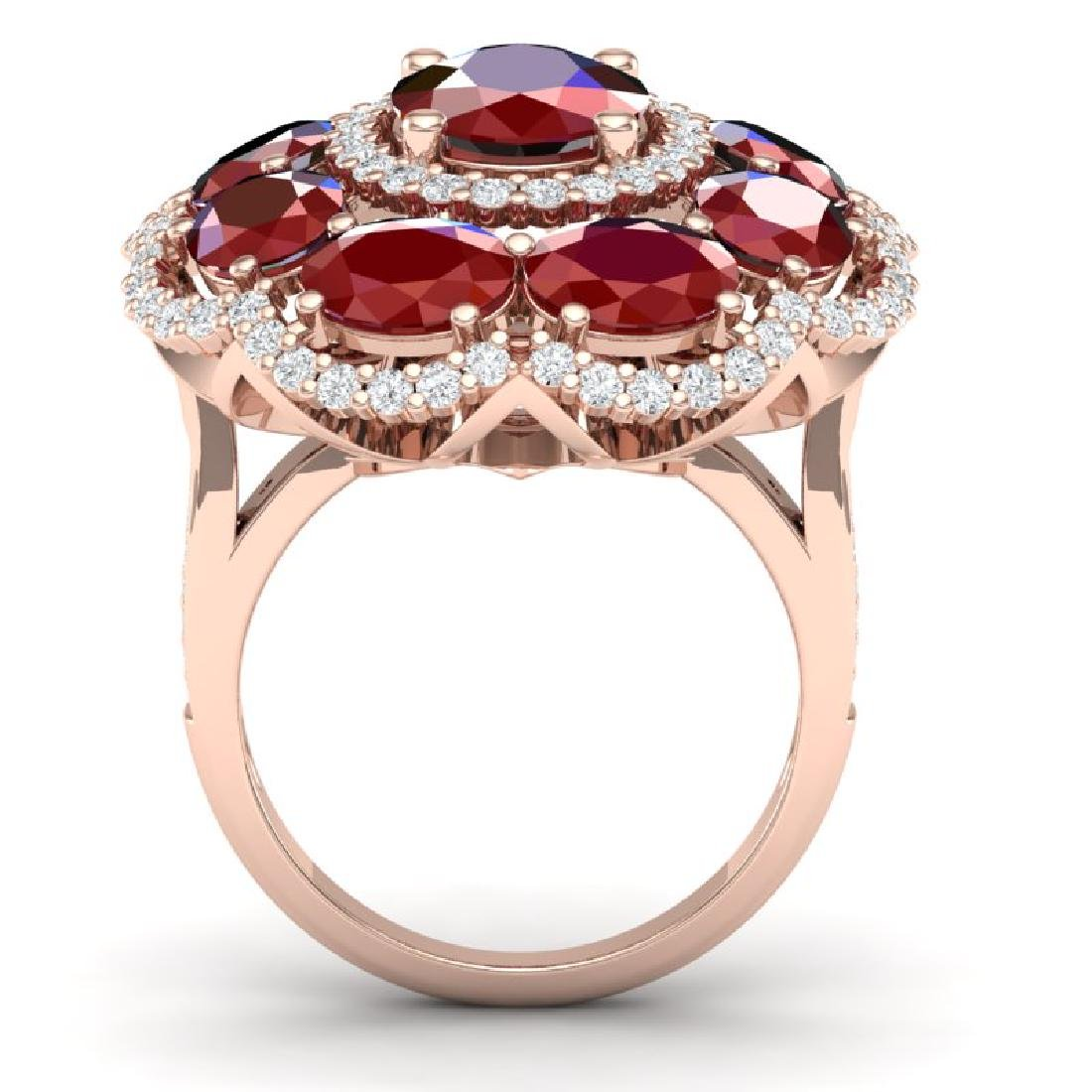 14.4 CTW Royalty Designer Ruby & VS Diamond Ring 18K - 3