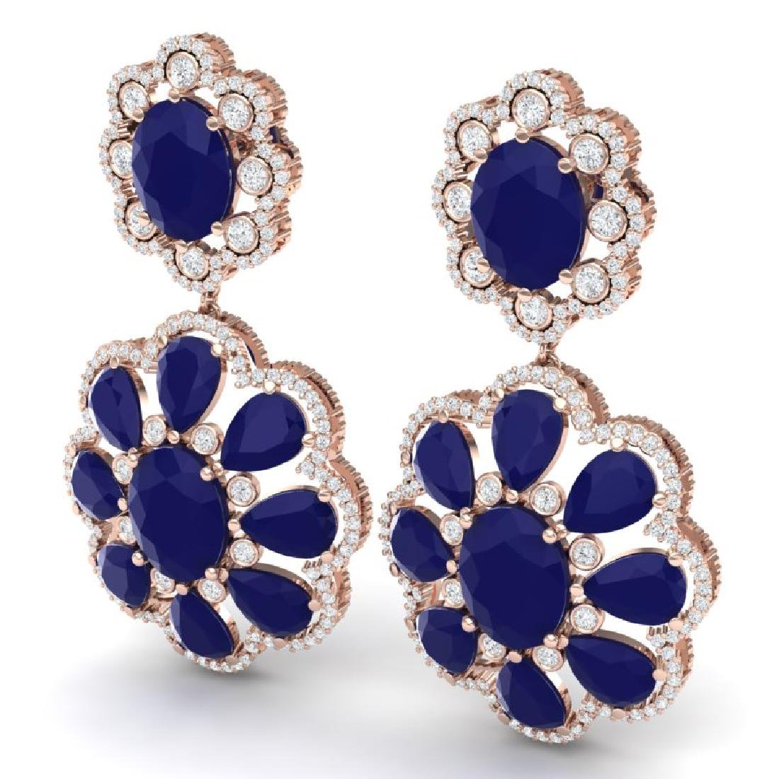 33.88 CTW Royalty Sapphire & VS Diamond Earrings 18K - 2