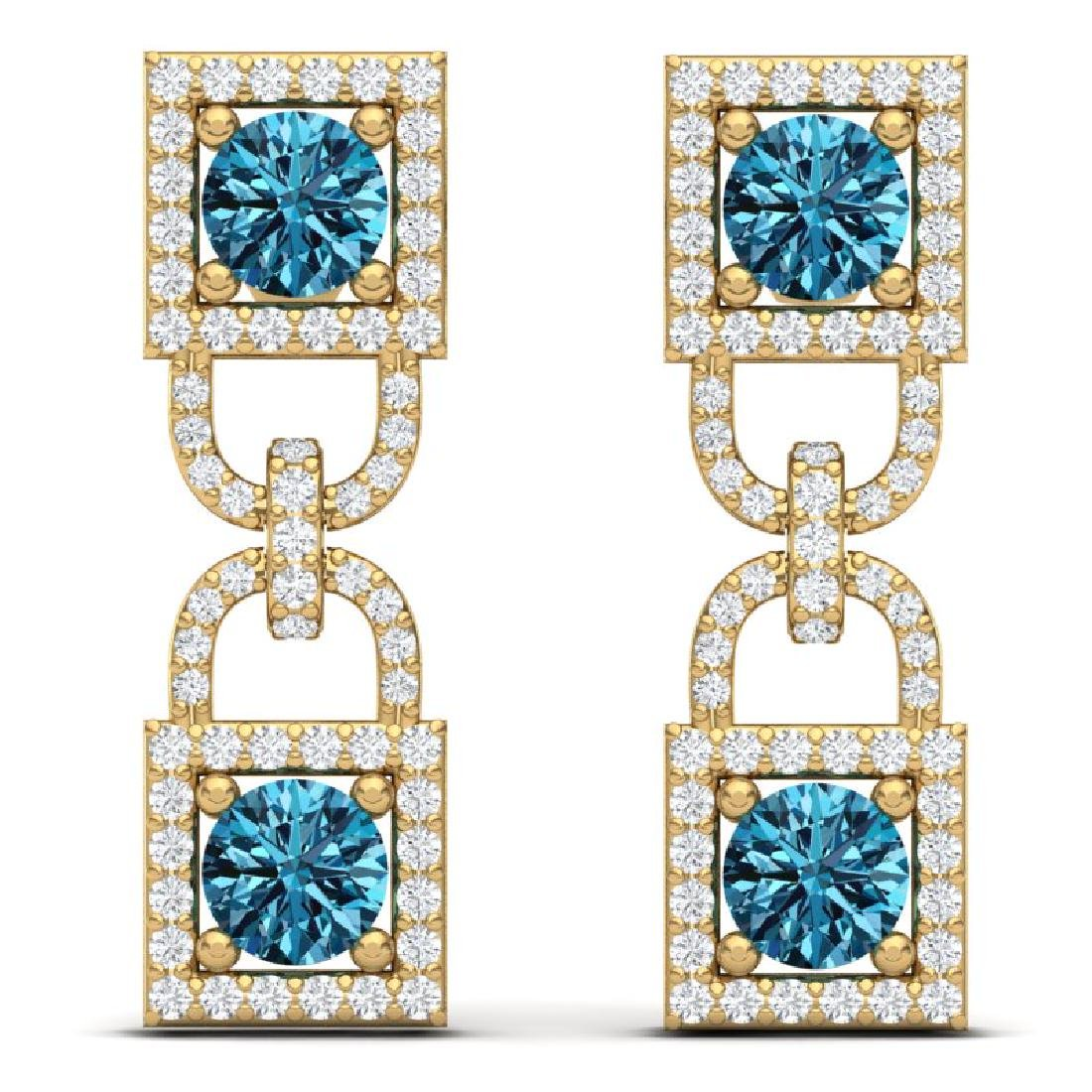 4 CTW Certified SI/I Intense Blue And White Diamond - 3