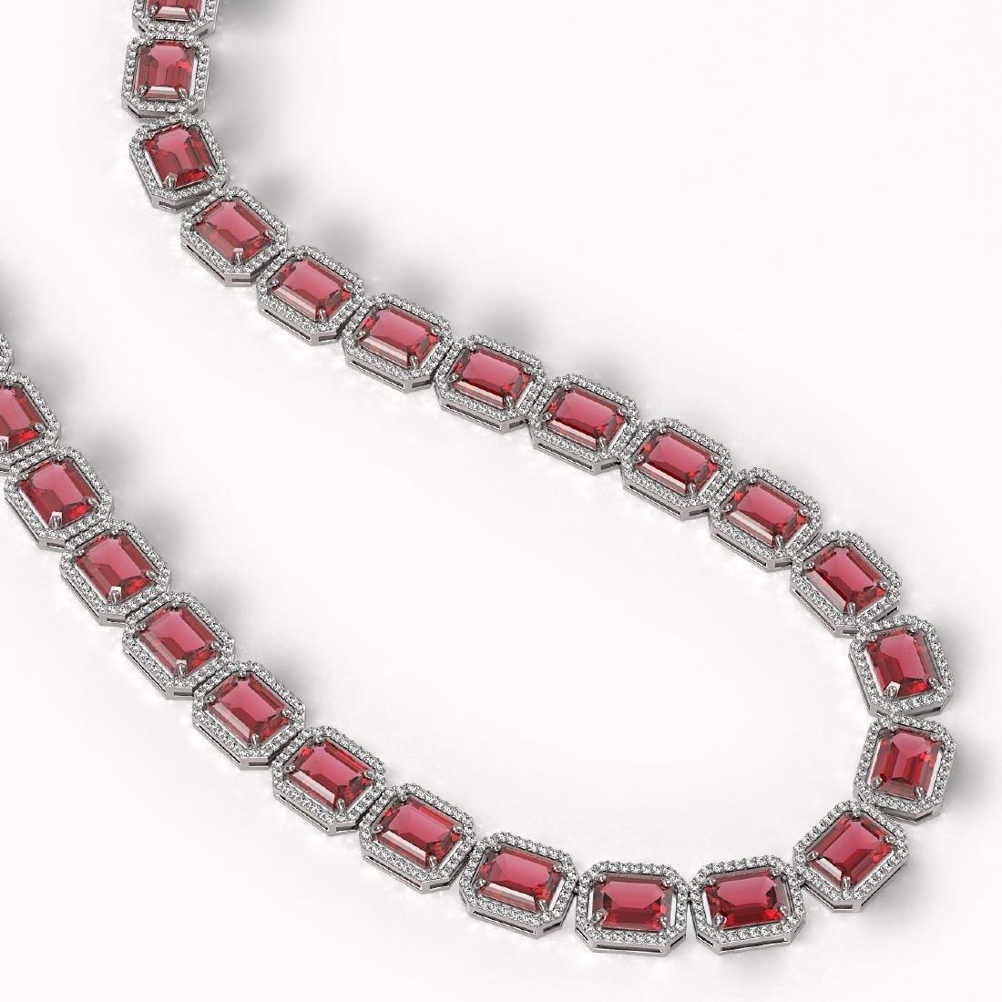 80.32 CTW Tourmaline & Diamond Halo Necklace 10K White - 2