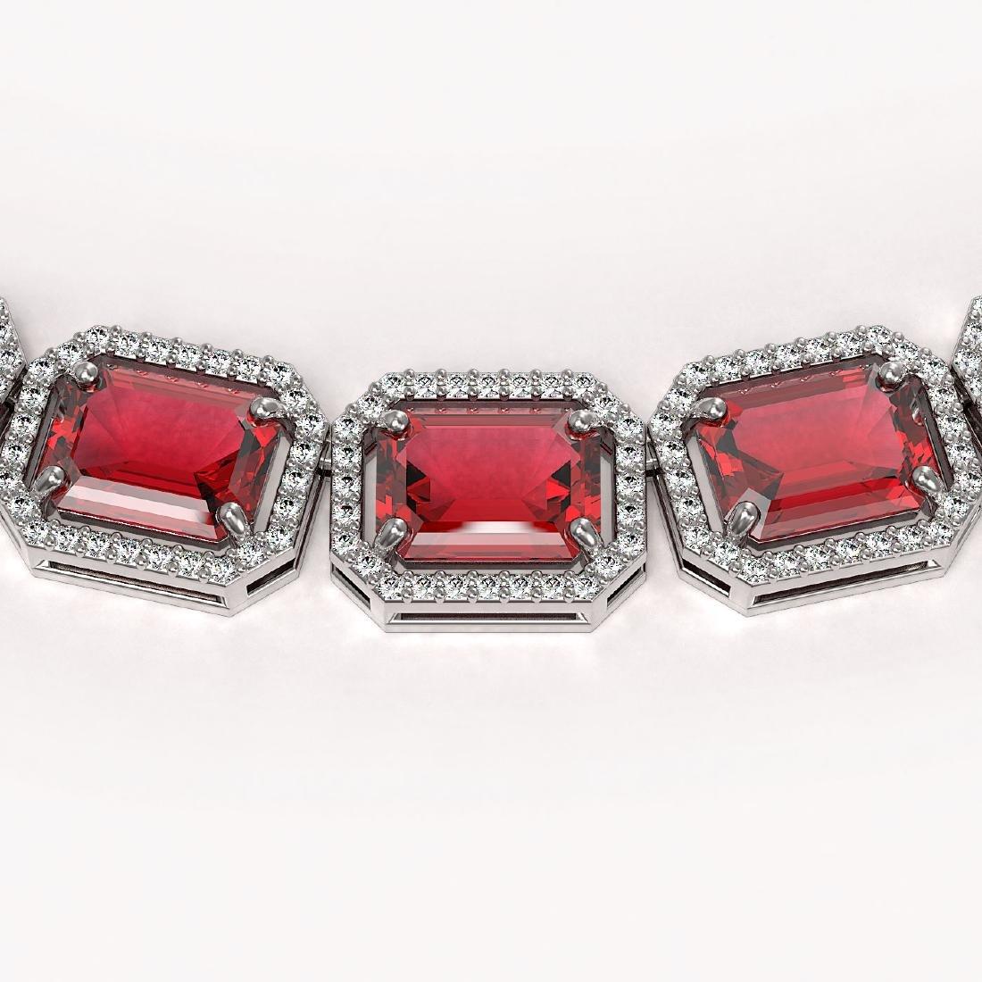 80.32 CTW Tourmaline & Diamond Halo Necklace 10K White - 3