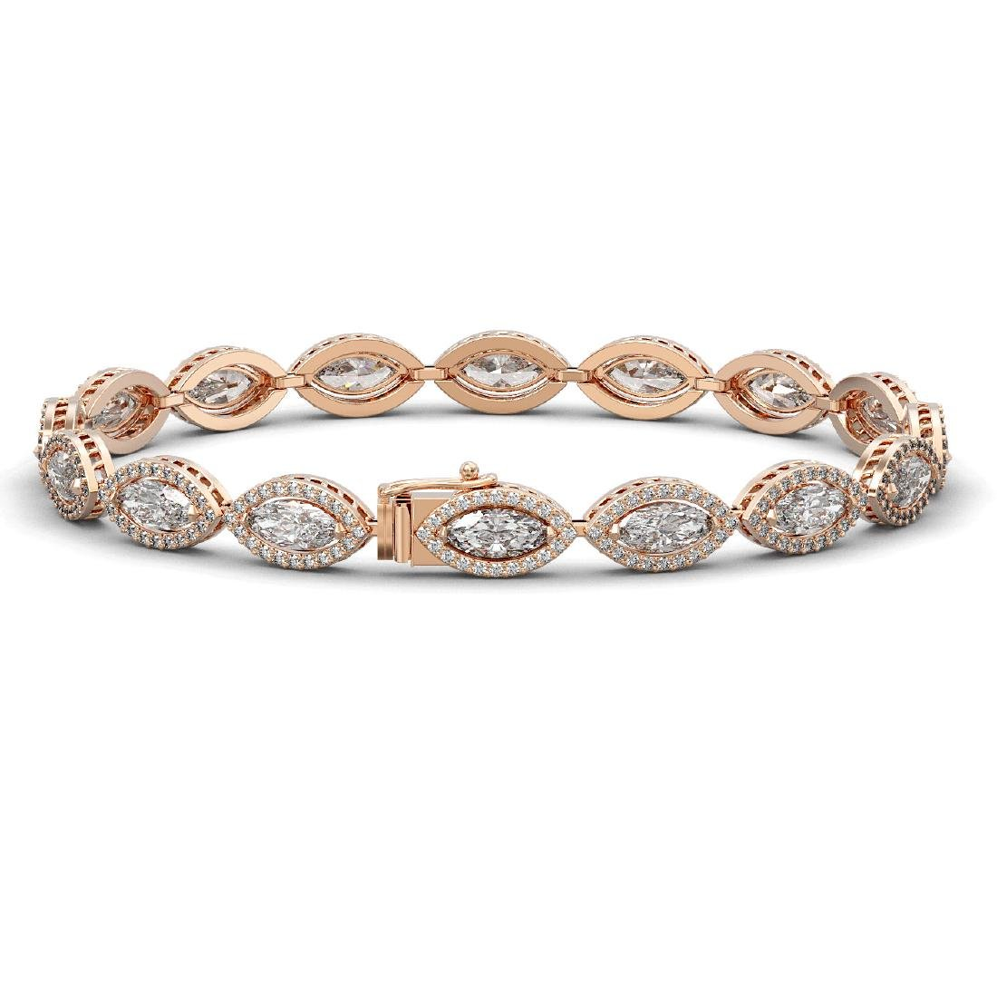 12.16 CTW Marquise Diamond Designer Bracelet 18K Rose - 2