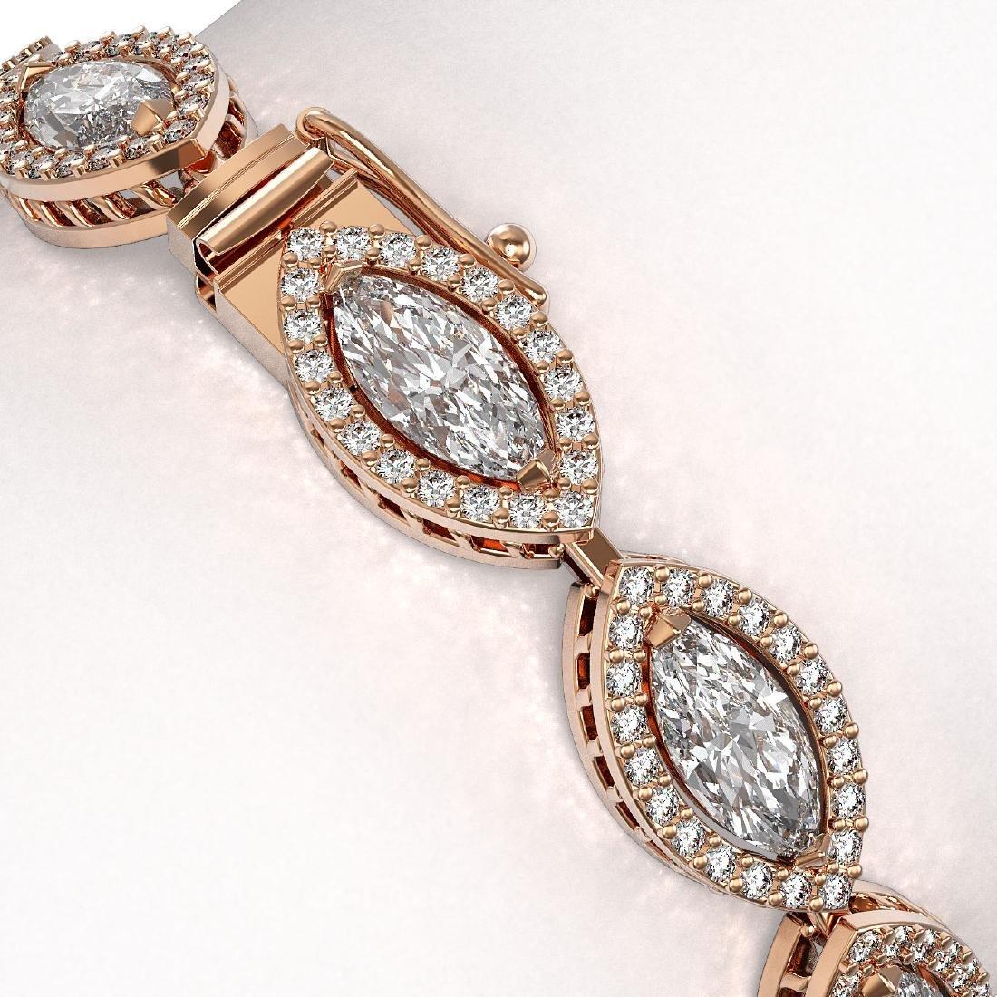 12.16 CTW Marquise Diamond Designer Bracelet 18K Rose - 3