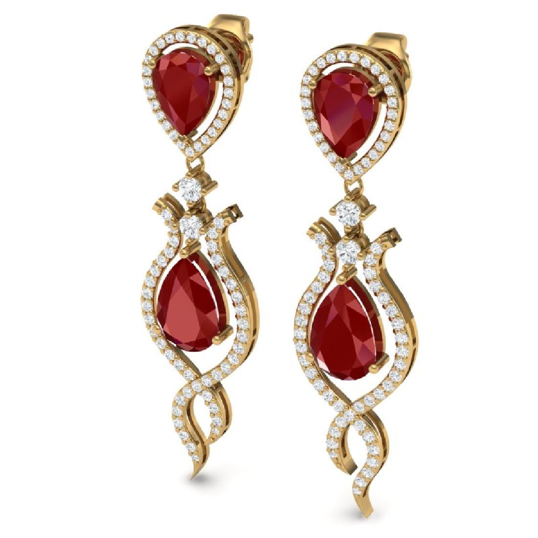 16.57 CTW Royalty Designer Ruby & VS Diamond Earrings - 2