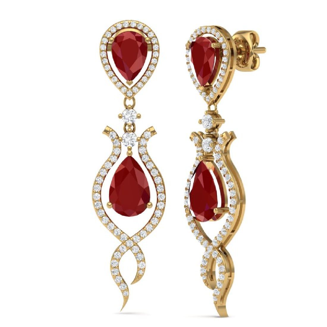 16.57 CTW Royalty Designer Ruby & VS Diamond Earrings - 3