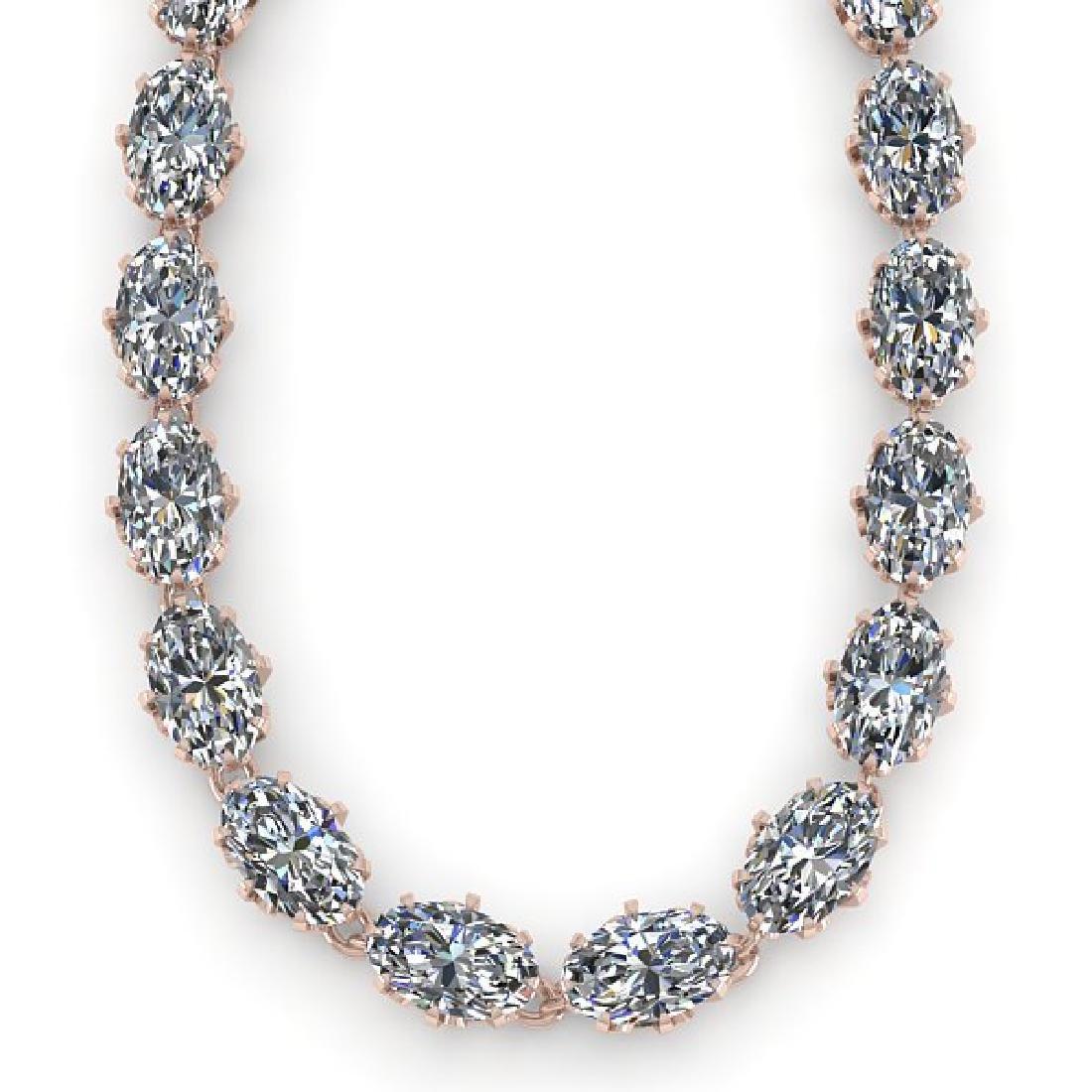 40 CTW Princess SI Certified Diamond Necklace 14K Rose - 2