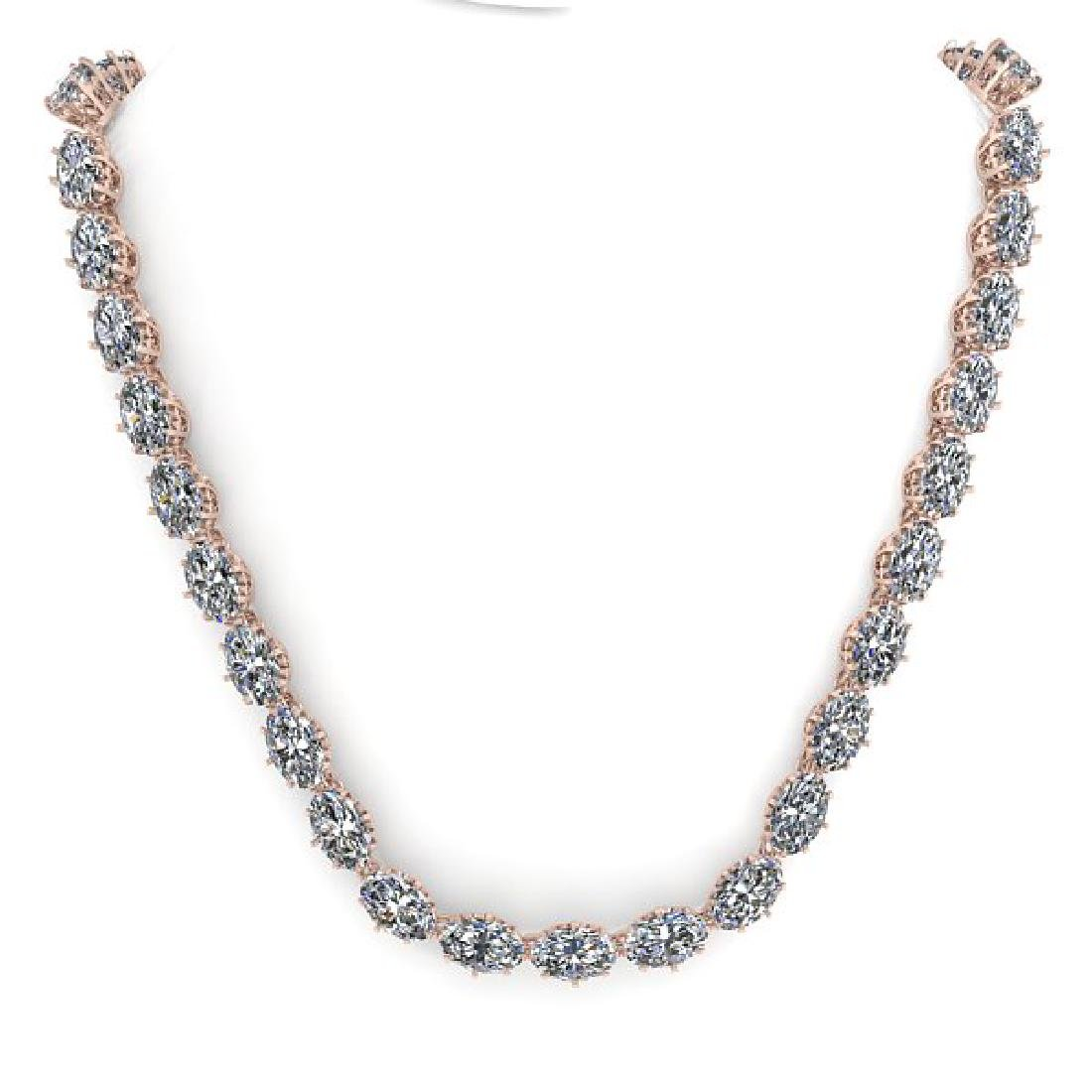 40 CTW Princess SI Certified Diamond Necklace 14K Rose - 3